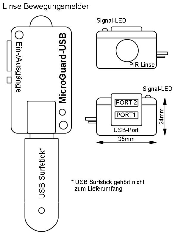 MicrGuard-USB Handy GSM Bewegungsmelder - Alarm per Anruf SMS